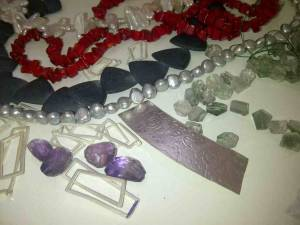 Amethyst, Aquamarine, Green Quartz, Onyx, Coral, And Pearls